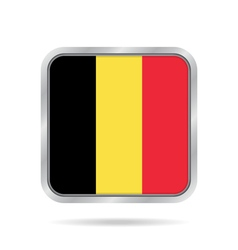 Flag of belgium shiny metallic gray square button vector
