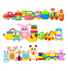 Set of funny children toys on white background vector