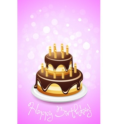 Happy birthday card with cake vector