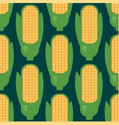 Corn ears seamless pattern in flat style vector