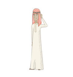 Young muslim man scratching his head vector