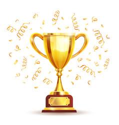 Golden winners cup vector