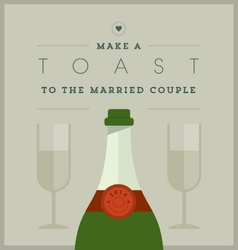 Champagne themed wedding card vector