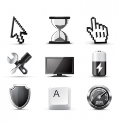 Computer icons  bw series vector