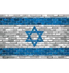 Grunge flag of israel on a brick wall vector