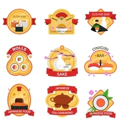 Sushi label set vector