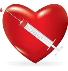 Syringe with a drop of medicine and heart vector