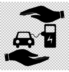 Electrocar battery charging sign vector