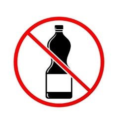 Plastic bottle not allowed sign vector