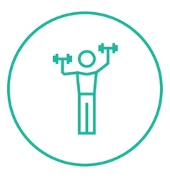 Man exercising with dumbbells line icon vector