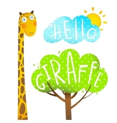 Fun cartoon african giraffe animal with lettering vector