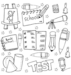 School tools in doodles witn hand draw vector