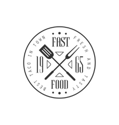 Fast food round label design vector