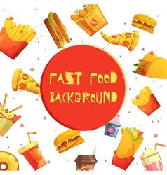 Fast Food Decorative Background Retro Cartoon vector image