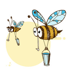 a friendly cute flying bees vector image