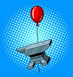 Anvil flying balloon pop art vector