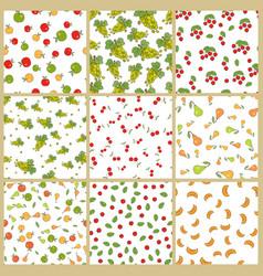 Autumn plants element seamless patterns set vector