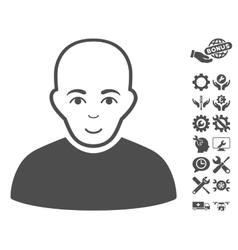 Bald man icon with tools bonus vector