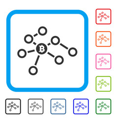 Bitcoin network nodes framed icon vector