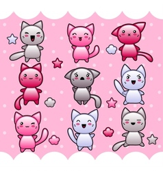 Card with cute kawaii doodle cats vector image vector image