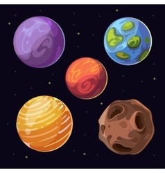 Cartoon alien planets moons asteroid on space vector