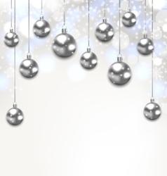 Christmas Silver Glassy Balls on Magic Light vector image vector image