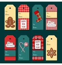 Christmas tags Funny Christmas label set vector image vector image