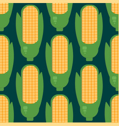Corn ears seamless pattern in flat style vector