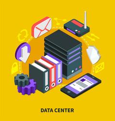 Data center isometric design concept vector