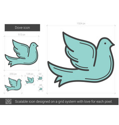 Dove line icon vector