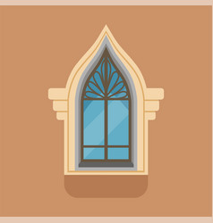 Flat window with unusual gothic form on brown wall vector