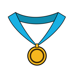 Gold medal with blue ribbon icon image vector