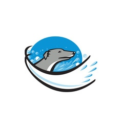 Greyhound dog head water bubble oval retro vector
