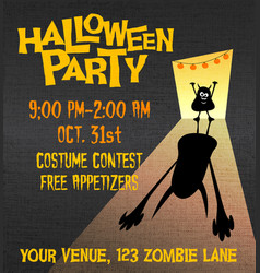 halloween party poster with little monster vector image