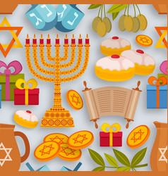 hanukkah seamless pattern with torah menorah and vector image