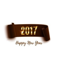 Happy New Year 2017 brown paper banner vector image