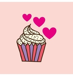 Heart pink cartoon cupcake chips sweet icon design vector