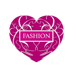 Logo fashionable heart of patterns vector