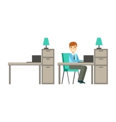 Man working in office coworking in informal vector
