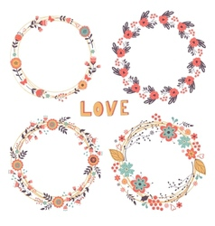 Romantic floral wreaths vector image