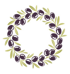 Round ornament wreath of black olives vector