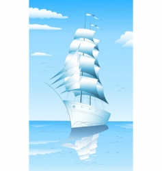 sailing ship in sea vector image vector image