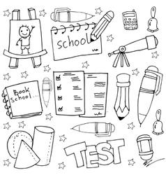 School tools in doodles witn hand draw vector