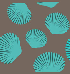 seamless pattern of blue seashells vector image vector image