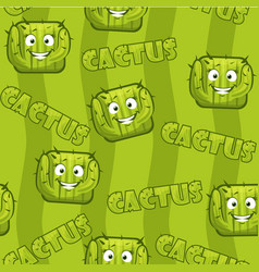 Seamless pattern with square smiley cactus vector