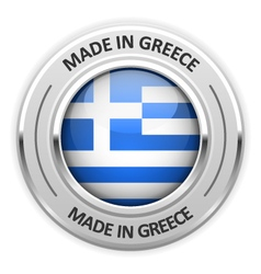 Silver medal Made in Greece with flag vector image