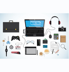 top view business desk workplace concept black vector image