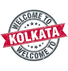 Welcome to kolkata red round vintage stamp vector