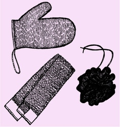 wisp bast washcloths sponge vector image vector image
