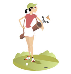 Young woman with a bag with golf clubs vector